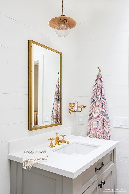 A Restoration Hardware Rivet Medicine Cabinet Is Mounted To A White  Vertical Shiplap Wall Above A Gray Single Bath Vanity Adorning Oil Rubbed  Bronze ...