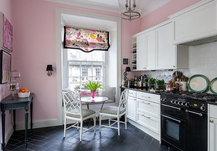 Pink Kitchen Walls pink and black kitchen design - contemporary - kitchen - farrow