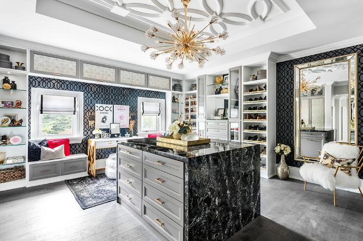 Gray Closet Island With Black Marble Waterfall