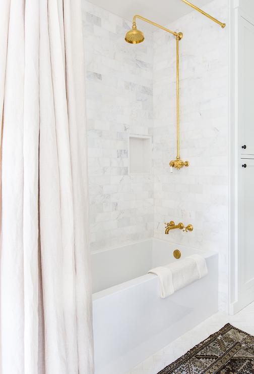 Vintage Exposed Plumbing Gold Shower Kit - Transitional - Bathroom