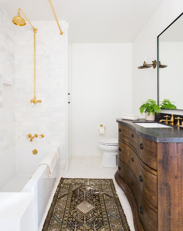 Drop In Bathtub With Gold Shower Curtain Rail