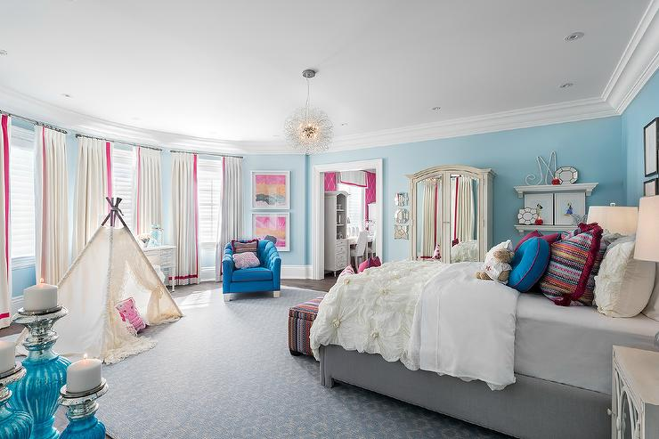Pink and Blue Girl Bedroom with Cream Mirrored Armoire. Pink and Blue Girl Bedroom with Cream Mirrored Armoire