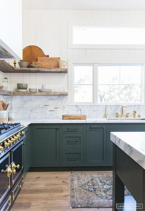 Hunter green kitchen transitional kitchen for Green kitchen cabinets