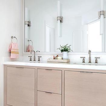 Black oak sink vanity with wicker bins transitional for Beige bathroom bin