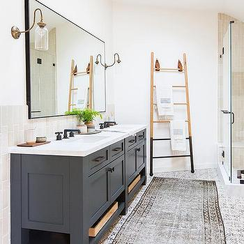 Amber Interiors Dark Gray Dual Bath Vanity With Brass And Glass Sconces