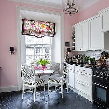 Pink Kitchen With Black Slate Herringbone Floor Tiles