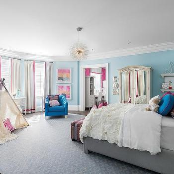 Blue And Gray Girl Bedroom With Mismatched Nightstands
