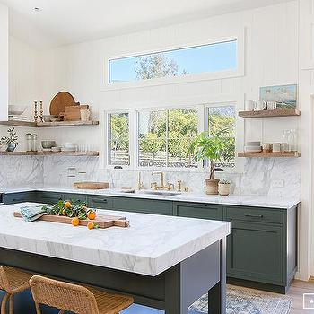 Freestanding Hunter Green Kitchen Island Design Ideas