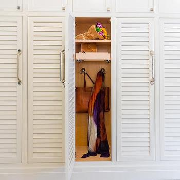 Mudroom Lockers with Pull Out Shelves & Louvered Mudroom Locker Doors Design Ideas