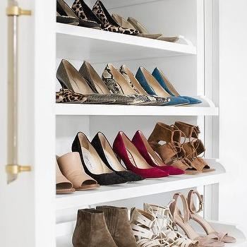 Closet With Stacked Pull Out Shoe Shelves