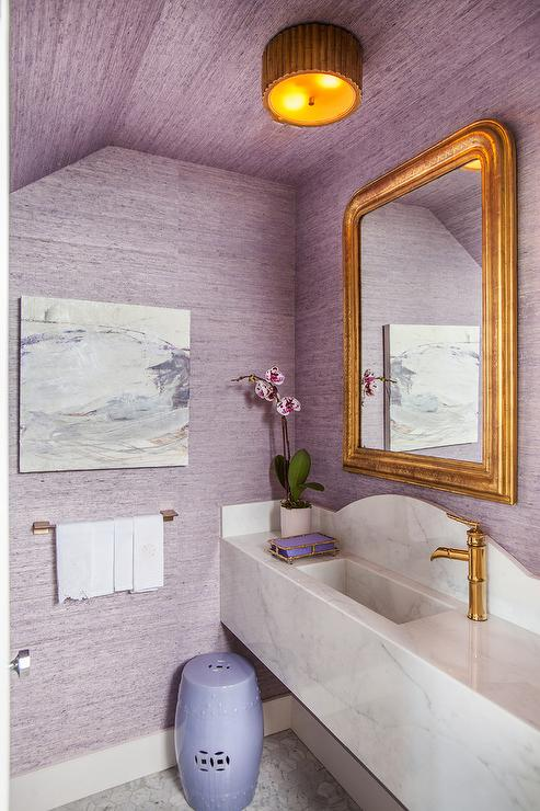 Contemporary powder room with floating sink vanity and gold bowl sink contemporary bathroom Purple and gold bathroom accessories
