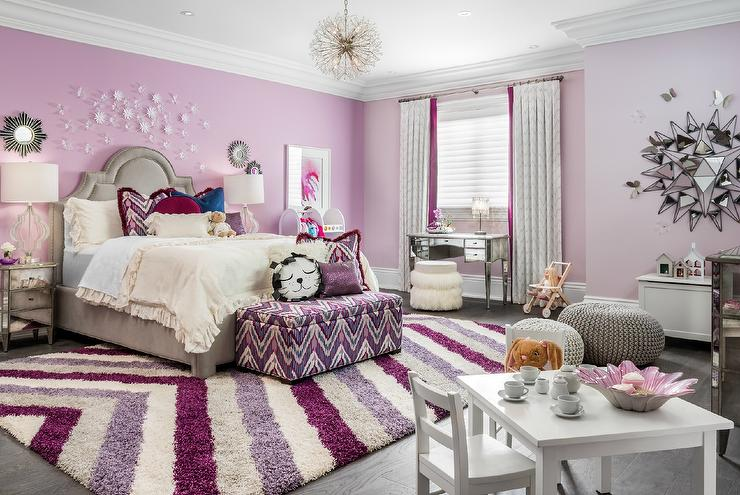 Pink Girl Bedroom With Hot Pink Tassel Bedding Transitional Girl 39 S Room