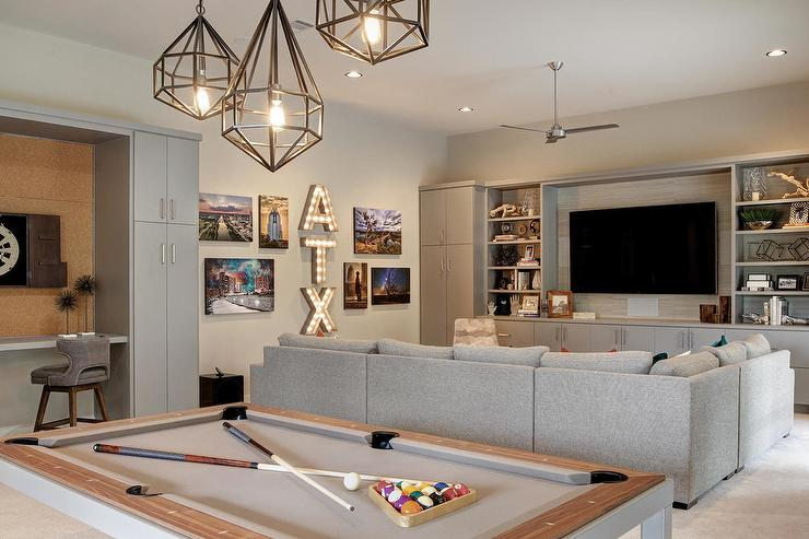 Staggered Pendants Over Pool Table Transitional Living