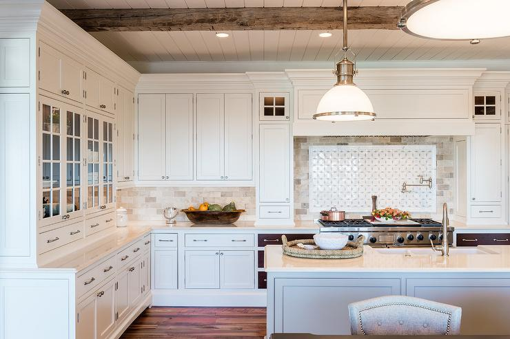 Long Gray Kitchen Island With Basket Chandeliers