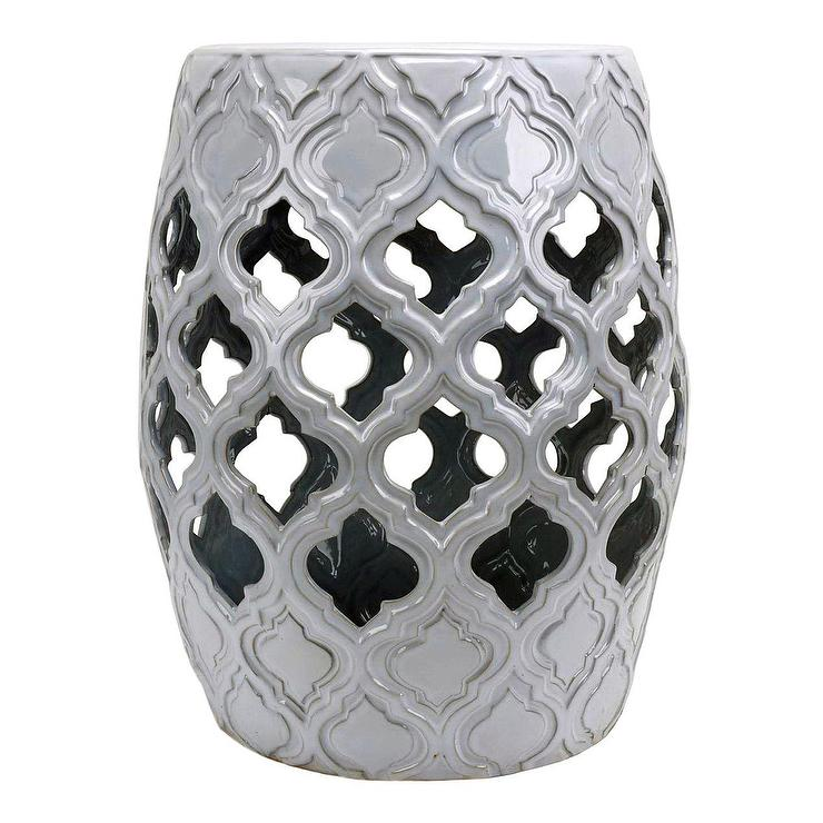 Perfect Ceramic White Quatrefoil Garden Stool Table VZ67