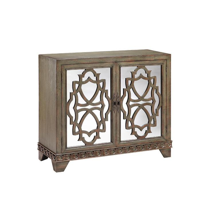 Mabel Wood Overlay Glass Cabinet 2 Door Chest
