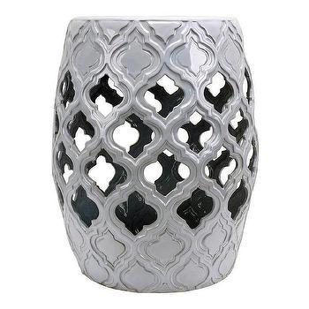Silvery Ceramic Stool Neiman Marcus