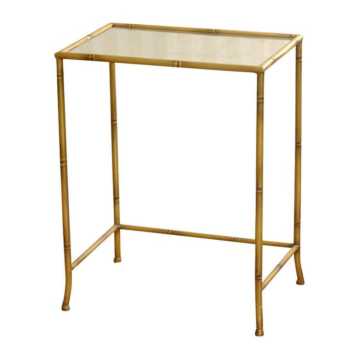 Gold Metal Bamboo Framed Mirrored Table