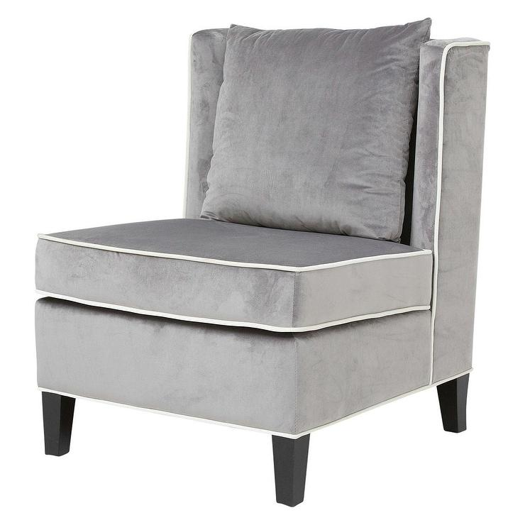 Grey White Nottingham Velvet Sofa Chair