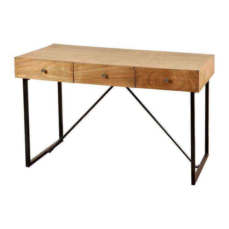 Three Drawer Black Metal Base Wood Desk