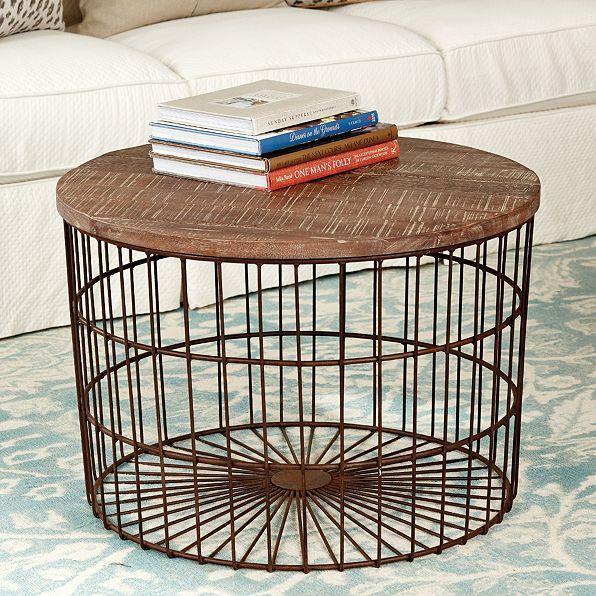 Mango Wood Top Basket Coffee Table
