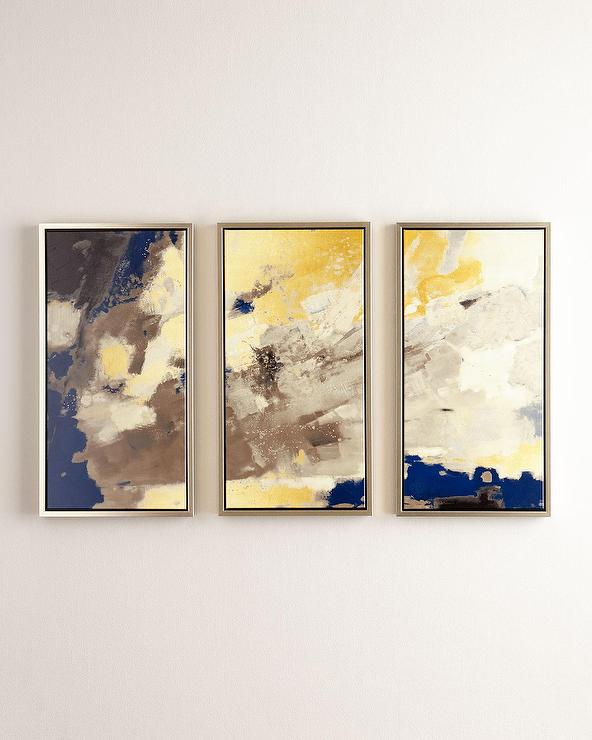 Set of three blue horizon giclees