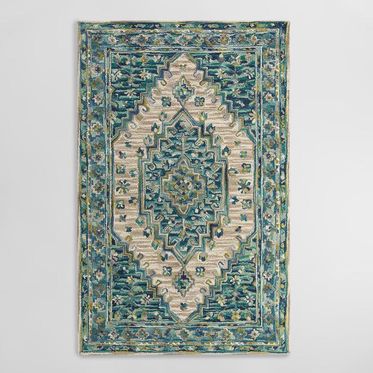 blue hues floral area rug