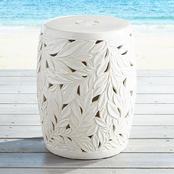 Charming Devereaux White Garden Stool