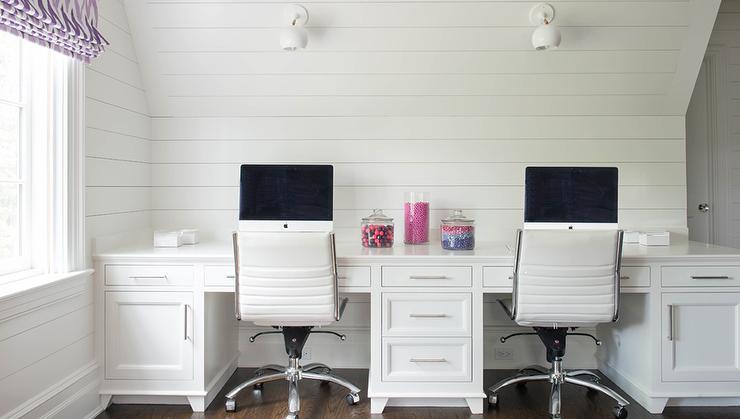 Built In Desk With Shiplap Backsplash Contemporary Den