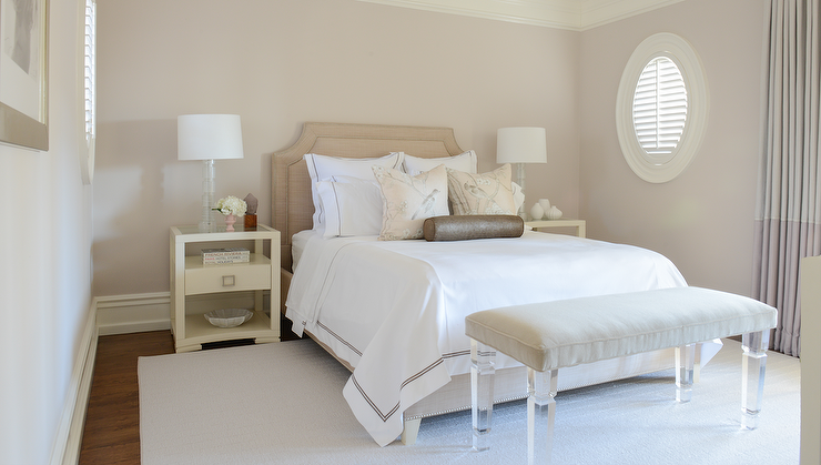 White and Beige Bedroom with Lucite Bench - Transitional ...