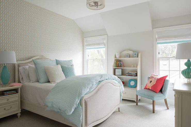 Gray French Burlap Girl Bed With Turquoise Blue Lamps