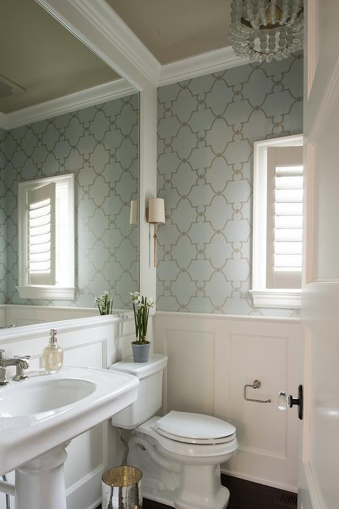 Silver and blue trellis wallpaper with wainscoting Pretty bathroom ideas