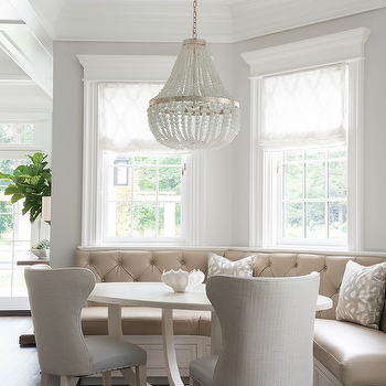 Exceptional Curved Breakfast Banquette With White Oval Dining Table