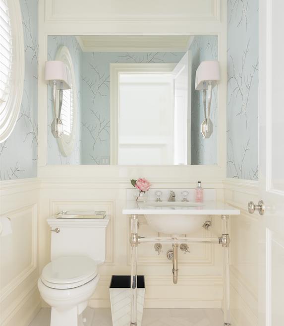 Cream And Blue Powder Room