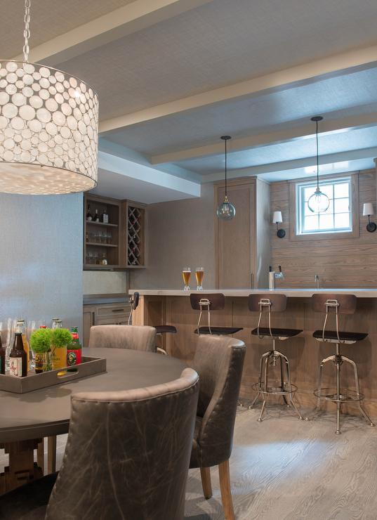 Basement Bar With Gray Wash Oak Backsplash Panels