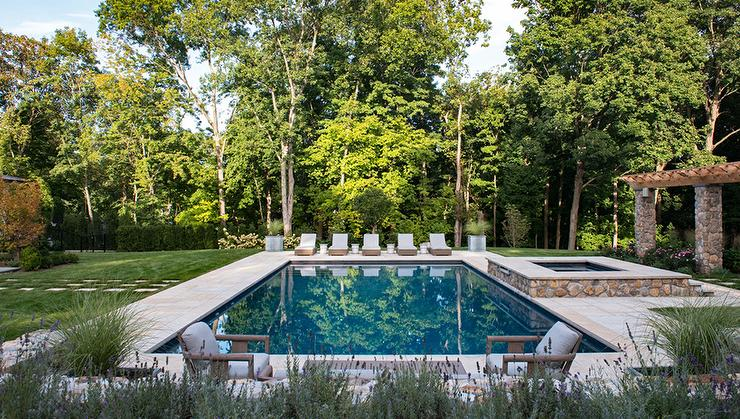Round in ground pool with pool house transitional garden for Garden pool dimensions