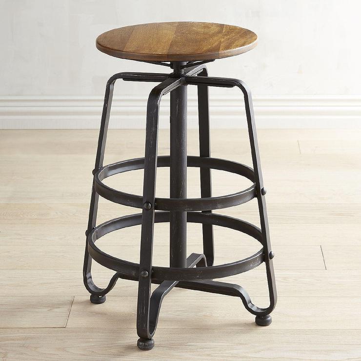 Excellent Java Round Wood Iron Swivel Stool Inzonedesignstudio Interior Chair Design Inzonedesignstudiocom