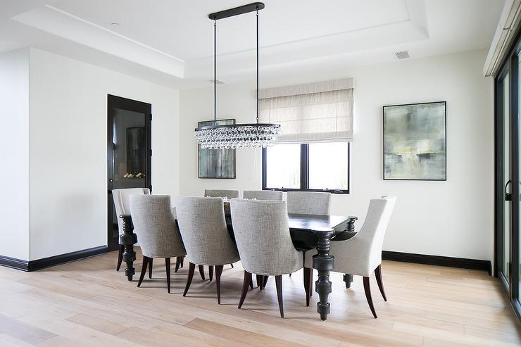 Black Dining Table With Heather Gray Dining Chairs