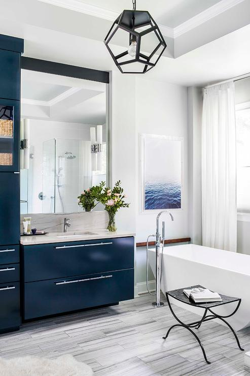 Blue Lacquer Bath Vanity With Gray Floor Tiles