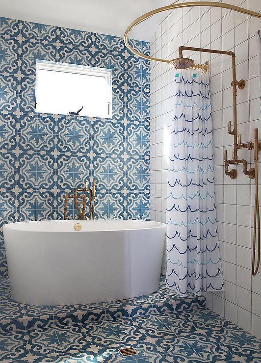 Blue mosaic tile shower curtain curtain menzilperde net for Blue mosaic bathroom accessories