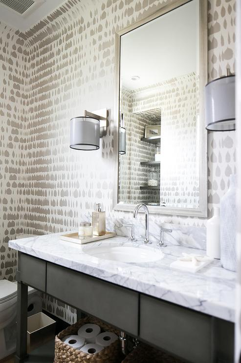 Gray Bathroom With Silver Beveled Mirror