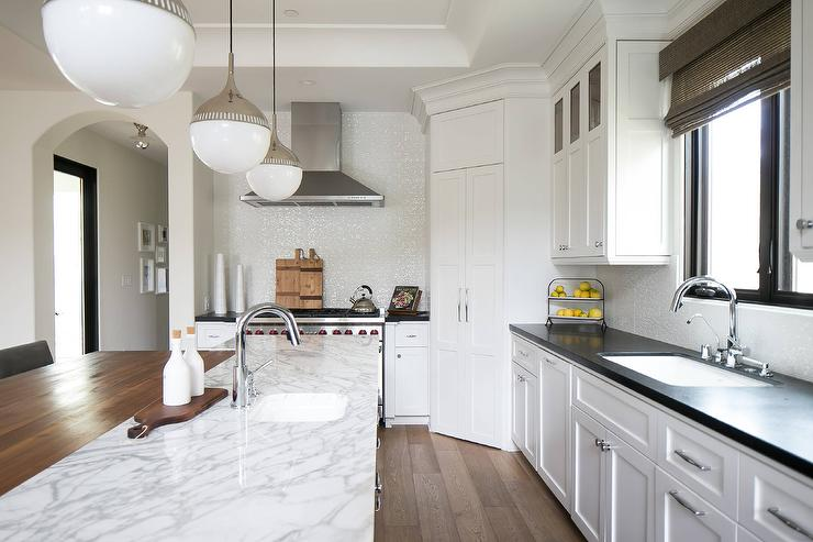 Wood and Marble Kitchen Countertops - Transitional - Kitchen