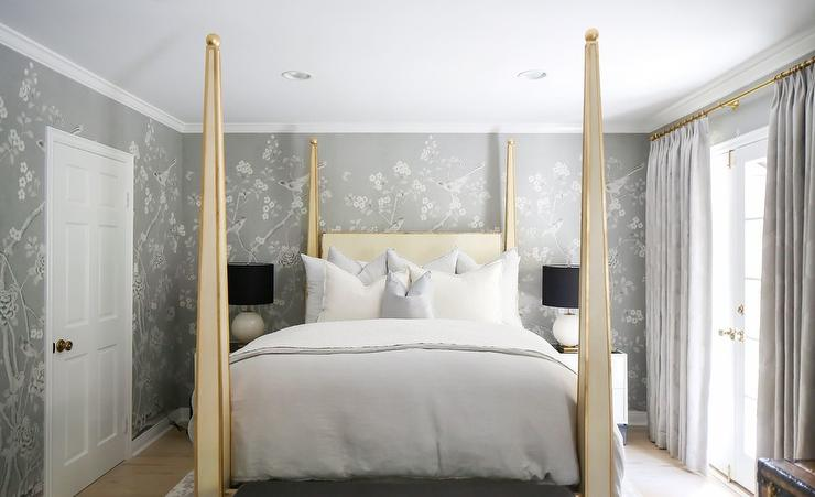Gold 4 Canopy Bed With Gray Chinoiserie Wallpaper Transitional