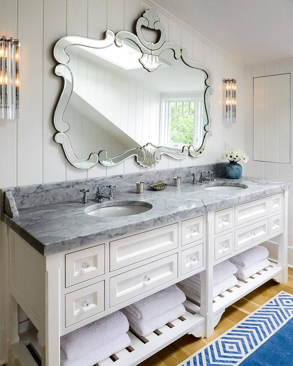 Arched Bath Vanity Nook With Blue Walls Transitional