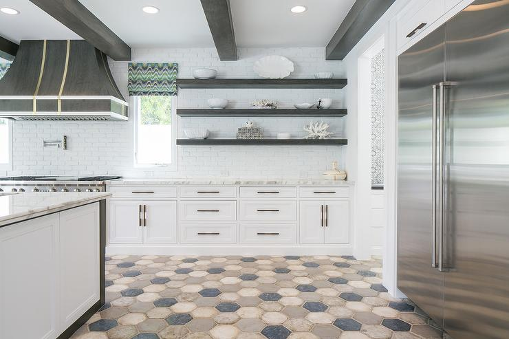 Dark Gray Wood Floating Kitchen Shelves Transitional Kitchen