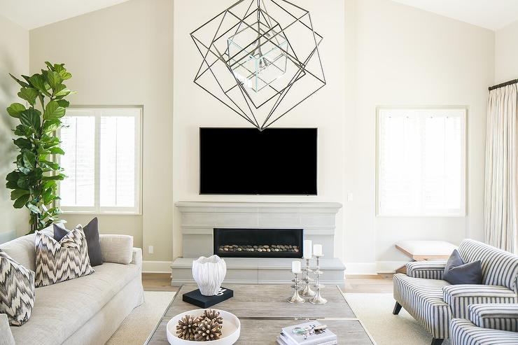 Low Limestone Fireplace with Flat Panel TV - Transitional - Living ...