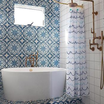 Blue Mosaic Cement Shower Tiles