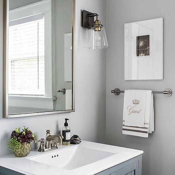 White Bathroom Vanity with Gold Hexagon Knobs - Transitional ...