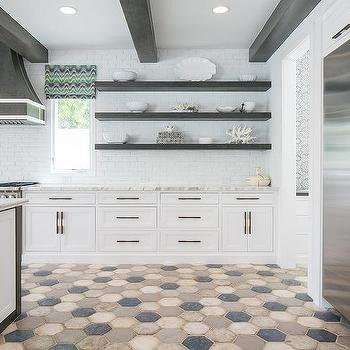 blue and gray hexagon kitchen floor tiles design ideas