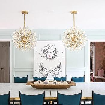 Brass Sputnik Chandeliers With Marble And Dining Table